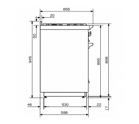 A12FF6TCE STEEL Fornuis 120 cm