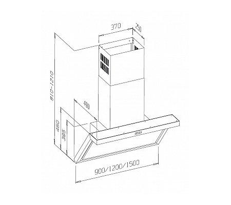 ELG154OH810CN AIRO Wandschouwkap (externe motor)
