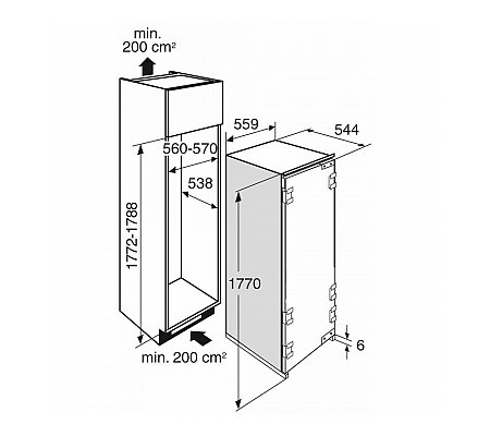 KD80178AFN ATAG Inbouw koelkast vanaf 178 cm