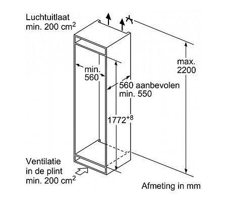 KI81RAD30 SIEMENS Inbouw koelkast vanaf 178 cm