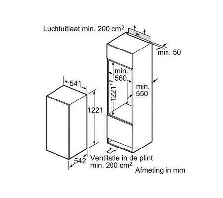 KIR24V51 BOSCH Inbouw koelkast rond 122 cm