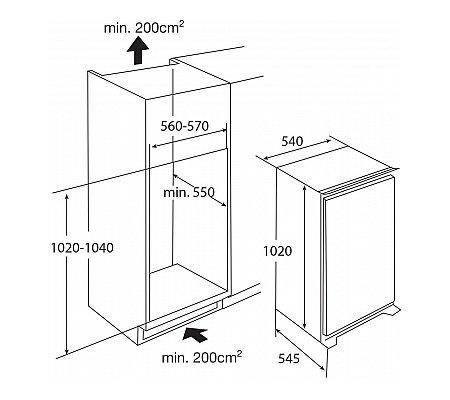 KK2102V PELGRIM Inbouw koelkast rond 102 cm