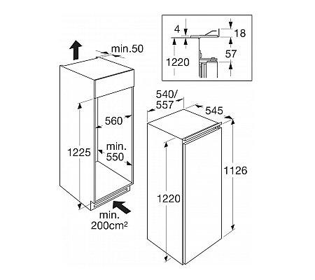 KS32122A ATAG Inbouw koelkasten rond 122 cm