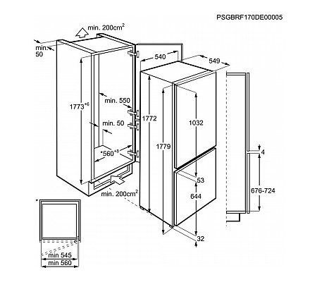 SCB61811LS AEG Inbouw koelkast vanaf 178 cm