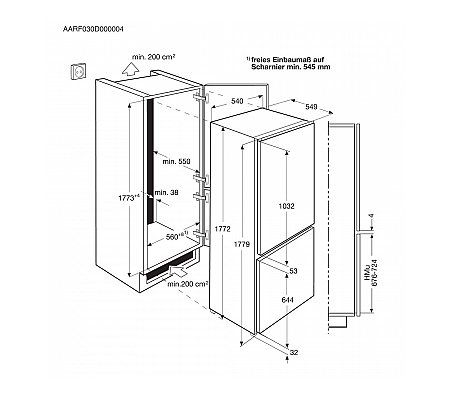 SCE81831FS AEG Inbouw koelkast vanaf 178 cm