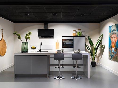 Keukens - Laser soft parelgrijze eilandkeuken