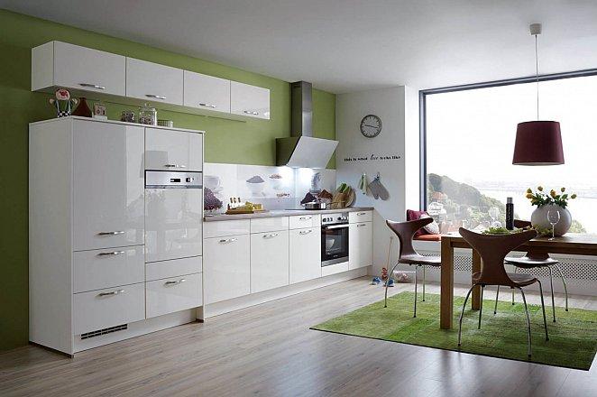 Witte hooglans keuken in rechte opstelling - Afbeelding 1 van 1