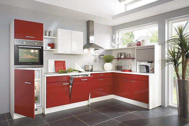 Moderne hoekkeuken in wit en hoogglans rood - Afbeelding 1 van 1