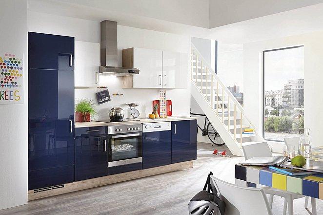 Donkerblauwe hoogglans keuken in rechte opstelling - Afbeelding 1 van 2