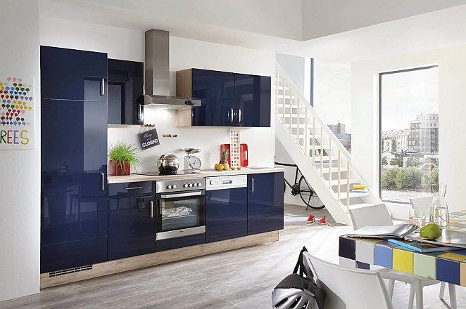 Donkerblauwe hoogglans keuken in rechte opstelling - Afbeelding 2 van 2