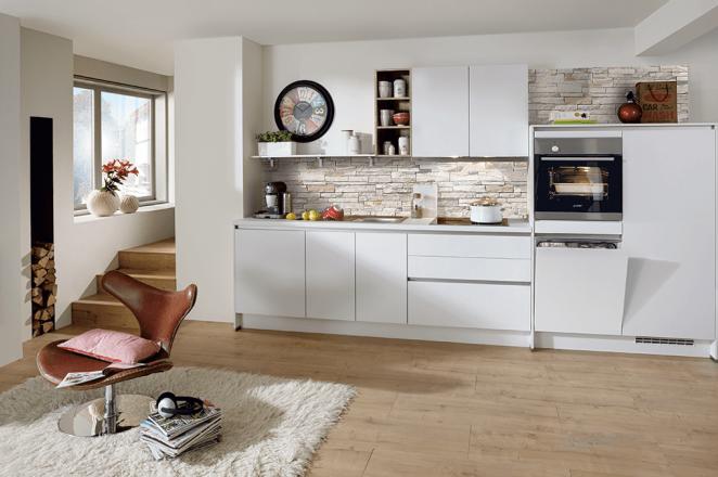 Witte rechte greeploze keuken - Afbeelding 2 van 2
