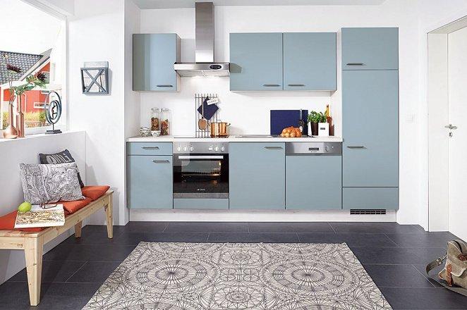 Rechte keuken met witte en blauwe keukenfronten - Afbeelding 2 van 3