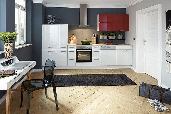 Rechte wit met rode glans keuken - Afbeelding 1 van 2