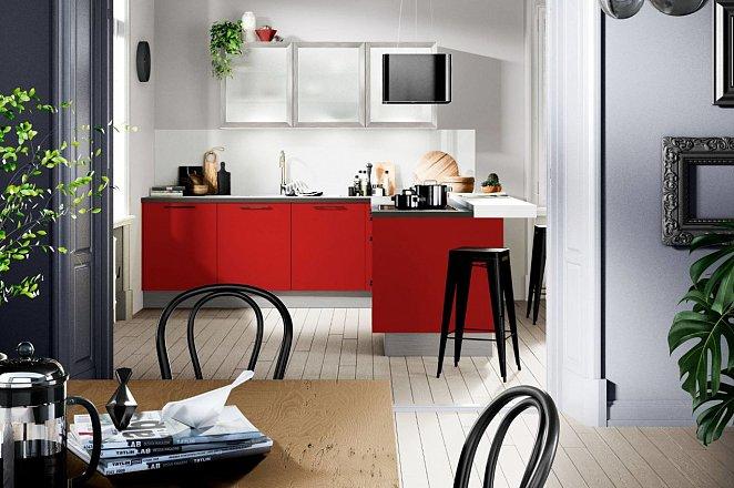 Rode hoekkeuken met eetbar - Afbeelding 1 van 2
