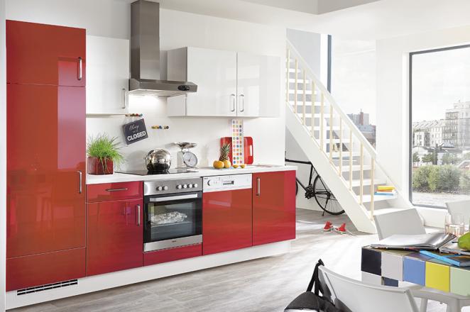 Rood glanzende rechte keuken - Afbeelding 1 van 3