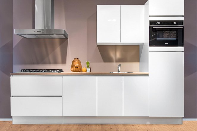 Rechte witte keuken met kunststof werkblad - Afbeelding 1 van 10
