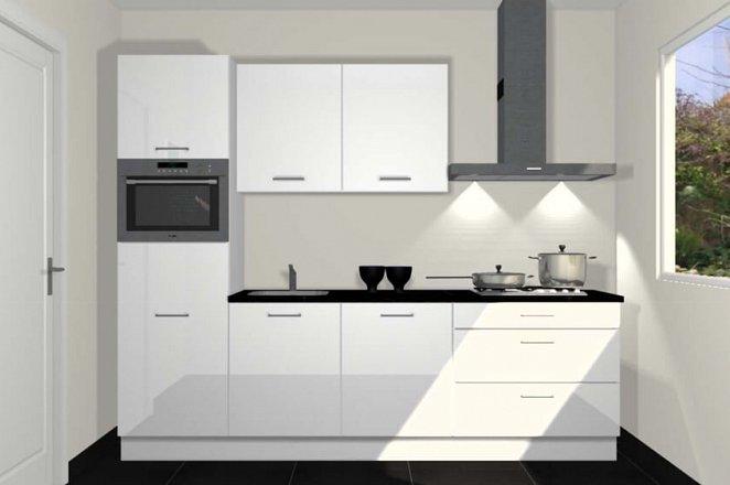 Rechte keuken in hoogglans wit - Afbeelding 1 van 3
