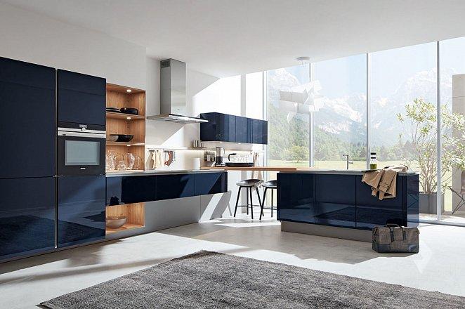 Moderne greeploze keuken in hoogglans donkerblauw - Afbeelding 1 van 3