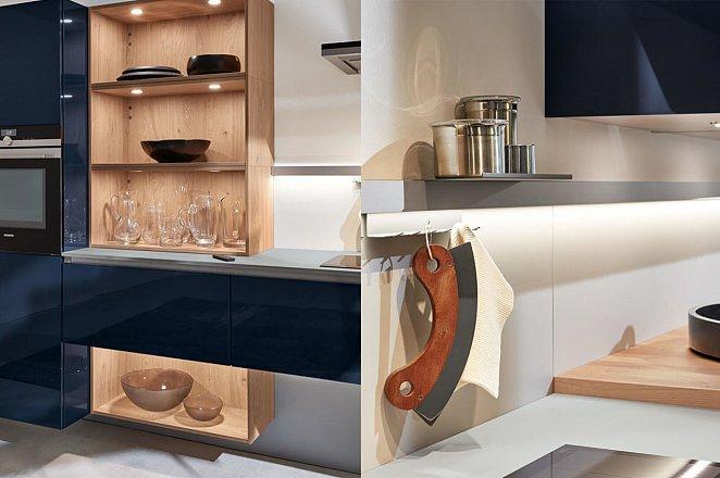 Moderne greeploze keuken in hoogglans donkerblauw - Afbeelding 2 van 3