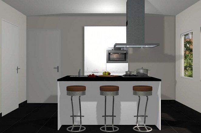 Eilandkeuken met kastenwand in hoogglans wit - Afbeelding 1 van 4