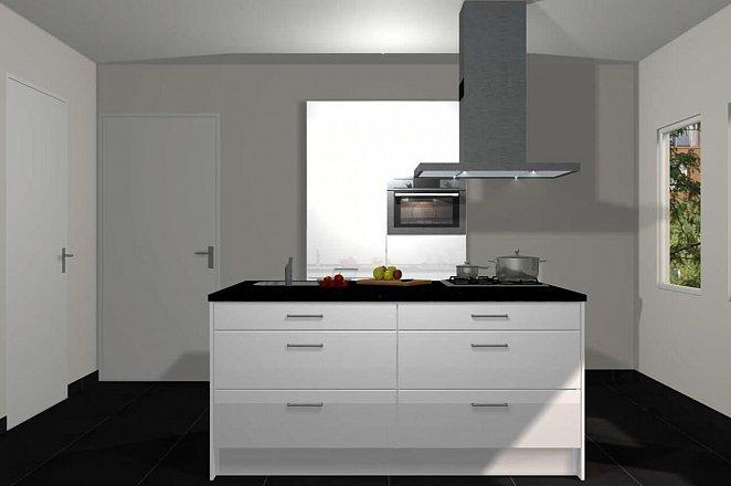 Eilandkeuken met kastenwand in hoogglans wit - Afbeelding 1 van 5