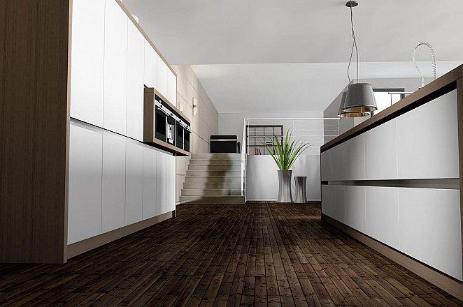 Strakke greeploze keuken met kookeiland - Afbeelding 1 van 1
