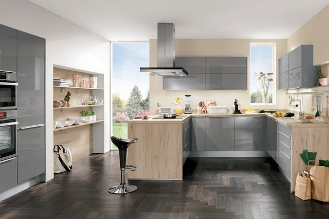 Moderne keuken in U-opstelling - Afbeelding 1 van 3