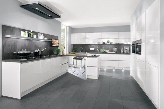 Greeploze keuken in hoogglans wit - Afbeelding 1 van 4