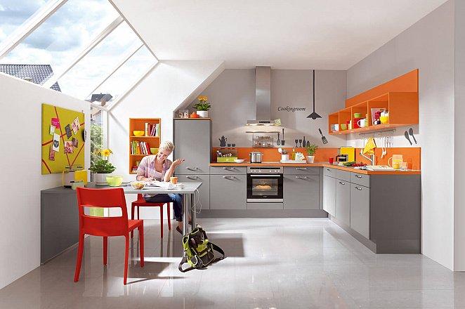 Moderne hoekkeuken met eettafel - Afbeelding 1 van 6